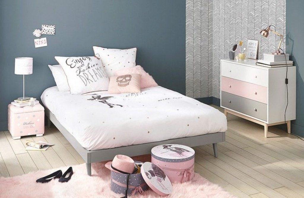 chambre grise et rose