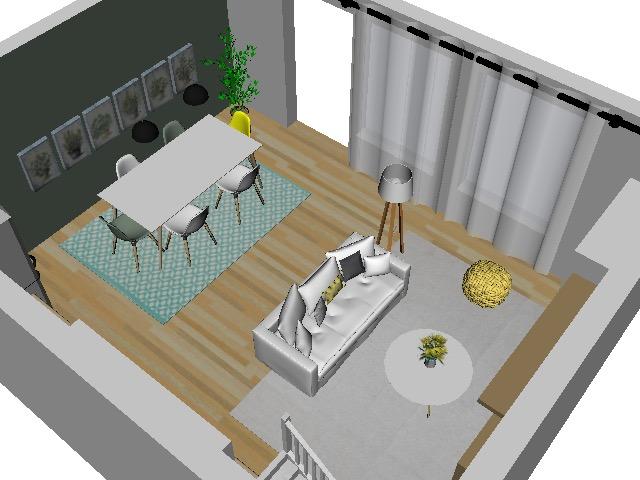 vue 3D salon et salle à manger